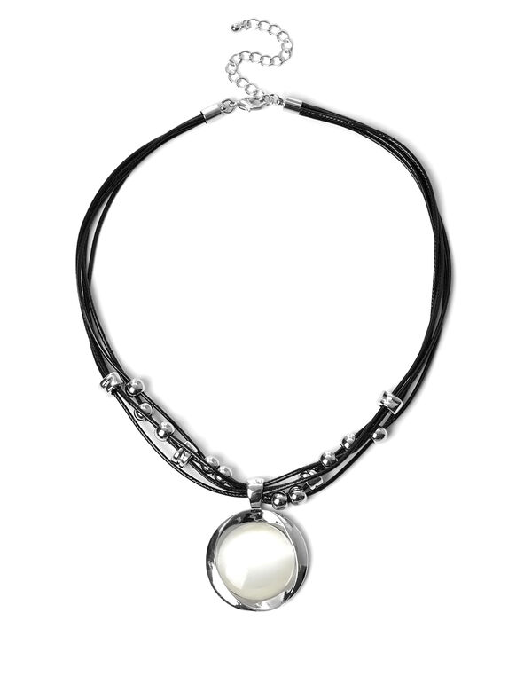 Ivory Cat Eye Necklace, Silver/Ivory, hi-res
