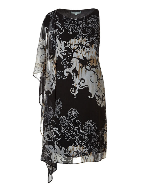Black Floral Cold Shoulder Dress, Black/Tan, hi-res