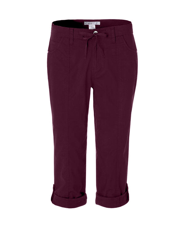 Claret Poplin Roll Up Capri, Claret, hi-res