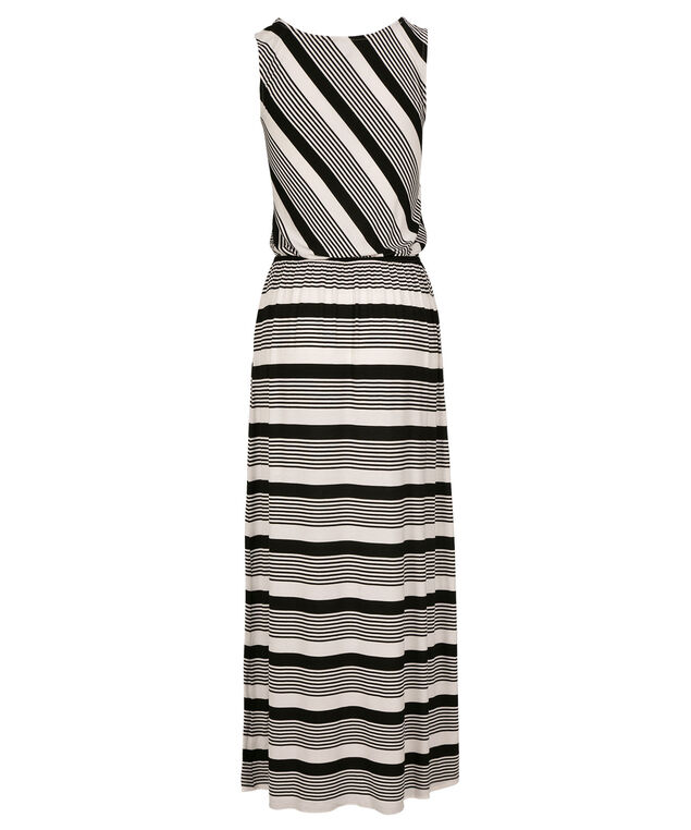 Striped Maxi Dress, Black/Ivory, hi-res