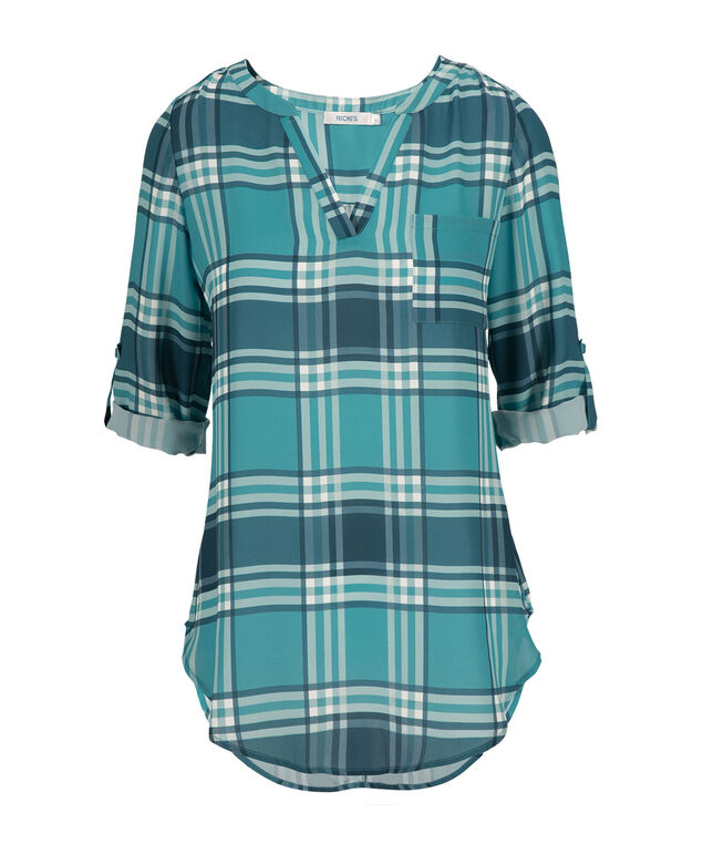 Roll Sleeve Henley Tunic, Mid Teal Print, hi-res