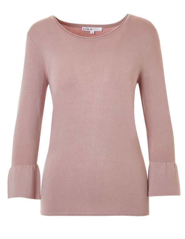Rose Pink Bell Sleeve Sweater, Rose Pink, hi-res