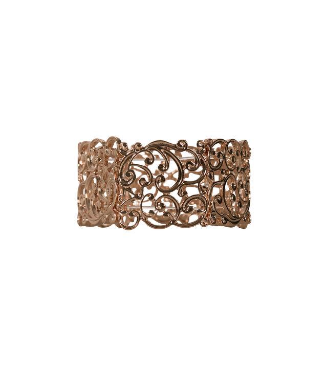 Filigree Stretch Bracelet, Rose Gold, hi-res