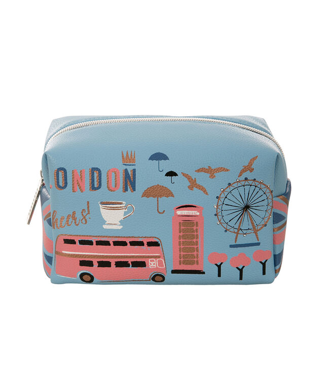London Cosmetic Bag, Blue, hi-res
