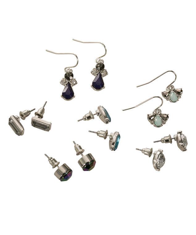 Stone & Crystal Earring Set, Sapphire/Aqua/Rhodium, hi-res