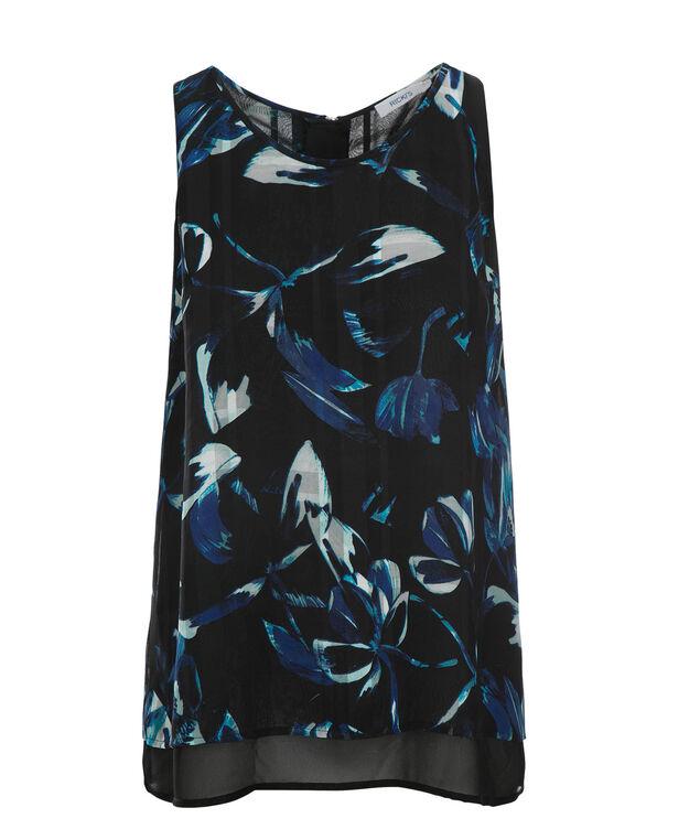 2-Layer Zip Blouse, Blue Print, hi-res