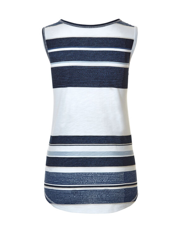 Dotted Stripe Sleeveless Tee, Navy/White/Washed Blue, hi-res
