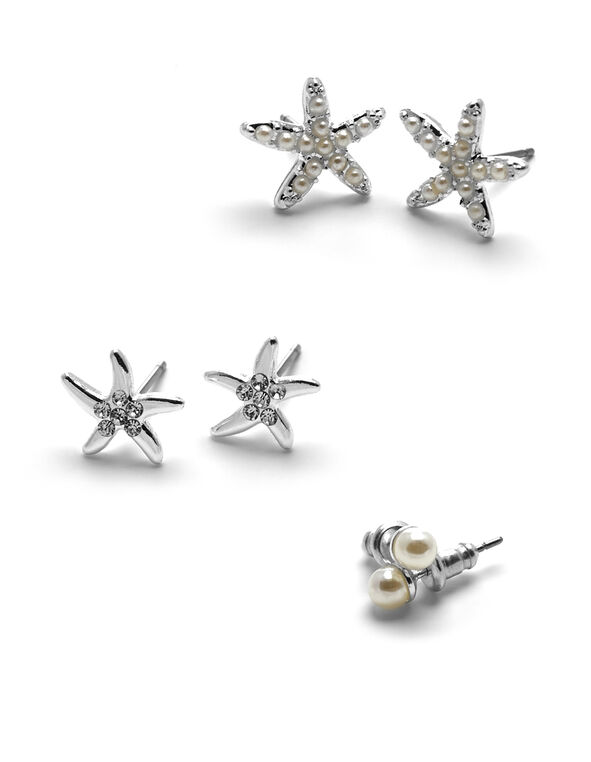 Silver Pearl Starfish Earring Set, Silver/Ivory, hi-res