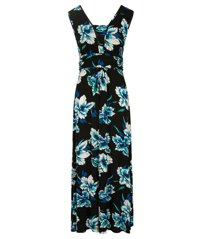 Floral Print Maxi Dress, Black/Blue/Teal, hi-res