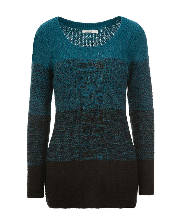 Ombre Cable Pullover, Black/Teal, hi-res