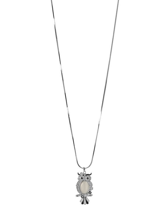 Long Ivory Owl Pendant Necklace, Silver/Ivory, hi-res