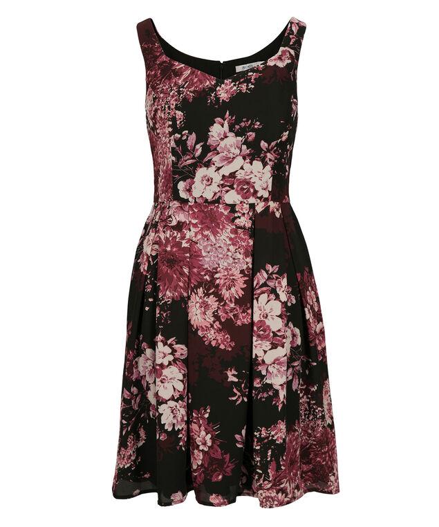 Sweetheart Neck Floral Dress, Burgundy Print, hi-res