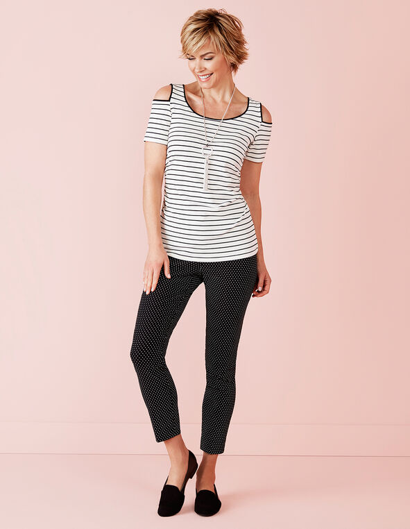 Striped Cold Shoulder Top, Ivory/Black, hi-res