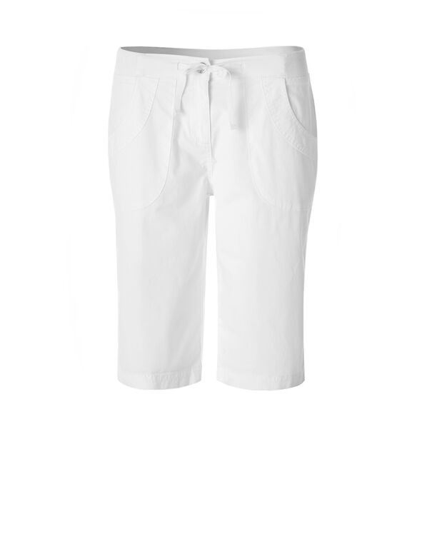 White Poplin Pull On Short, White, hi-res