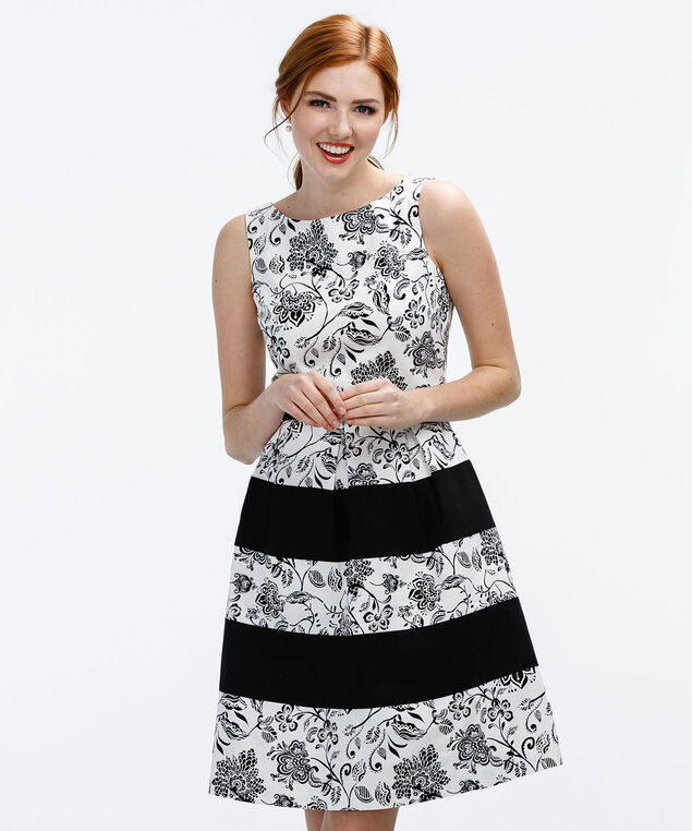 Paisley Print Stripe Dress, Milkshake/Black Print, hi-res