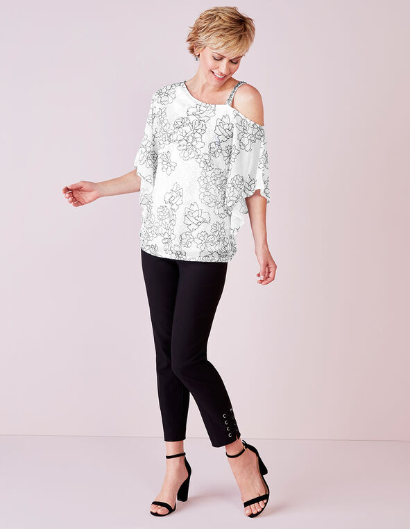 White Floral Crystal Shoulder Top, White/Black, hi-res