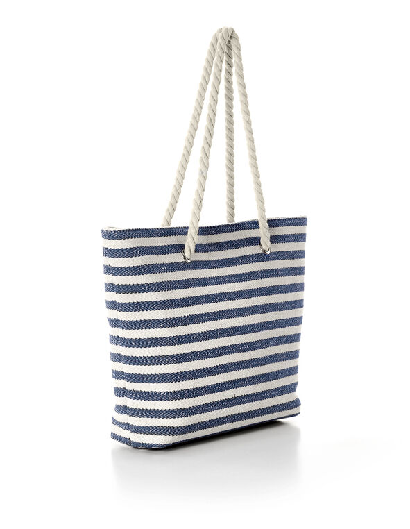 Navy Striped Canvas Tote, Navy/Neutral, hi-res
