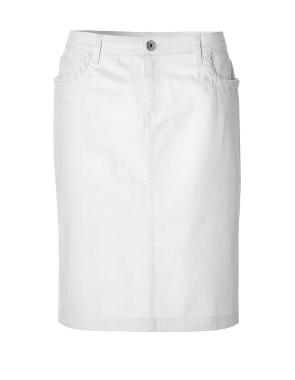 White Denim Skirt, White, hi-res