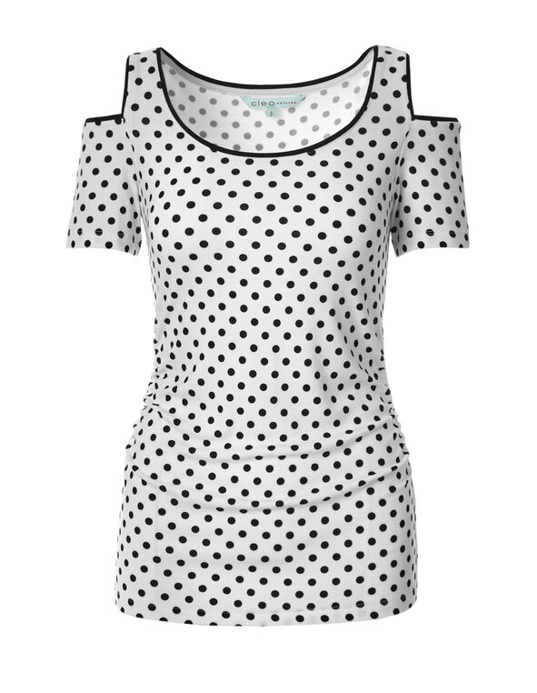 Polkadot Cold Shoulder Top, White/Black, hi-res