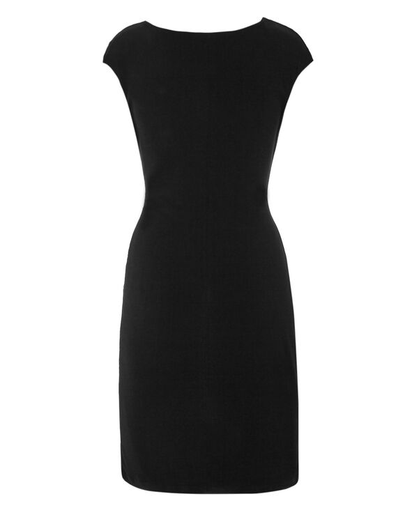 Black Ruffle Front Dress, Black, hi-res