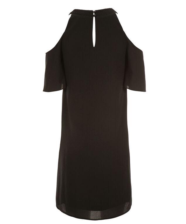 Cold Shoulder Trapeze Dress, Black, hi-res