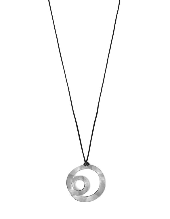 Silver Swirl Cord Long Necklace, Silver/Black, hi-res