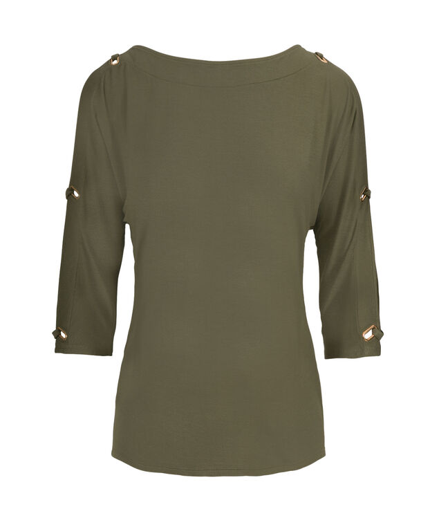 Grommet Cold Shoulder, Sage Green, hi-res
