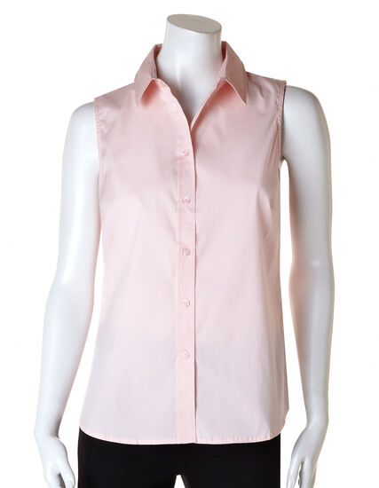 Sleeveless Button Front Blouse, Seashell Pink, hi-res