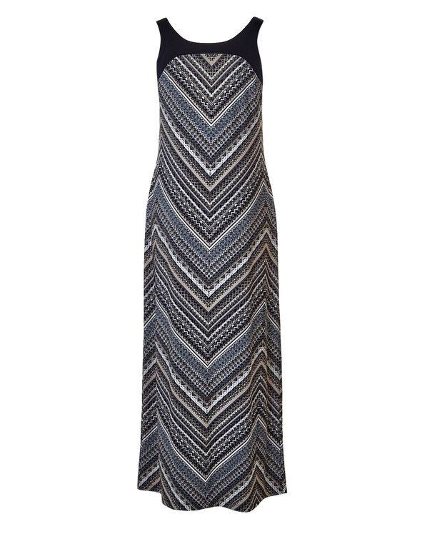 Blue Chevron Print Maxi, Navy/Stone/Washed Blue, hi-res