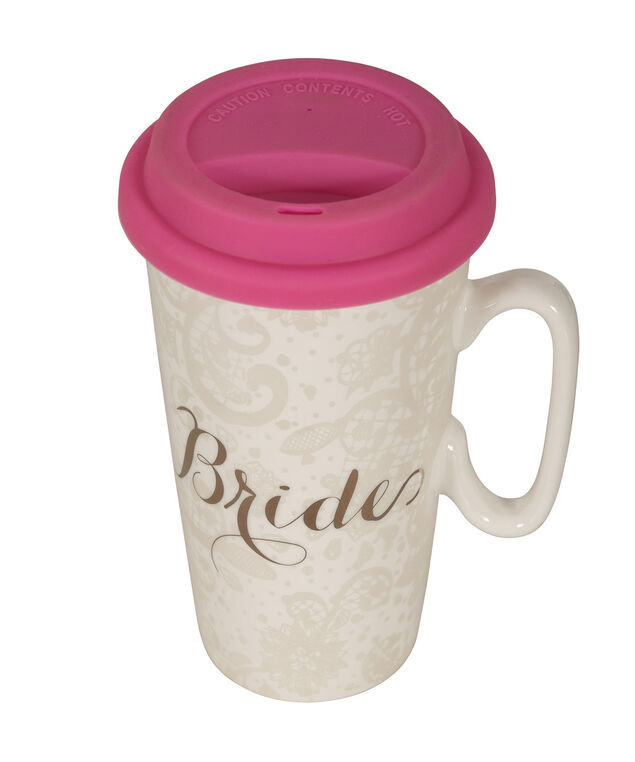 Bride Travel Mug, White/Pink, hi-res