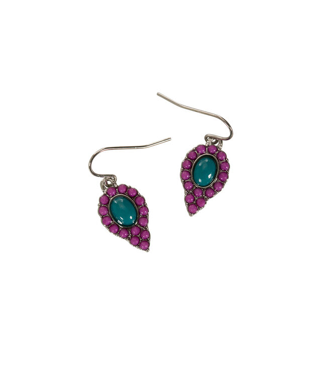 Tear Stone Drop Earring, Purple/Teal/Rhodium, hi-res