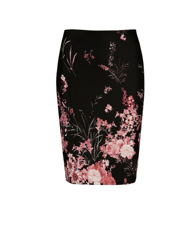 Pull On Floral Scuba Skirt, Strawberry Daiquiri Print, hi-res