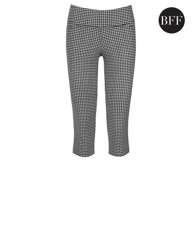 Microtwill Super Slim Leg Capri, Black/White Gingham, hi-res