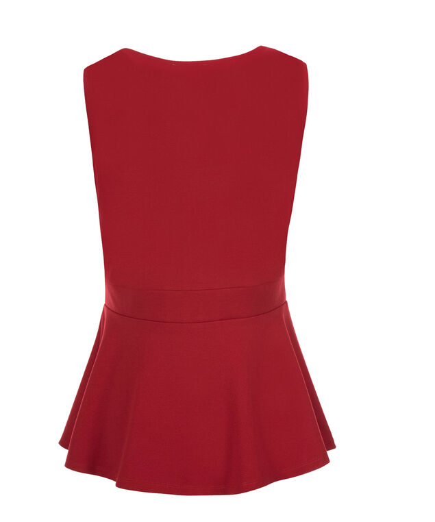 Cut-Out Neck Peplum, Poppy Red, hi-res