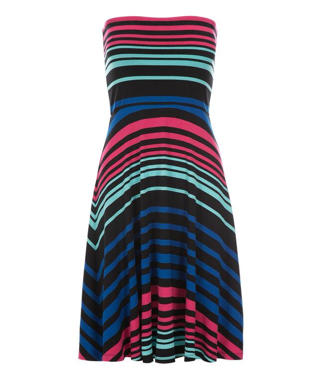 Bandeau Convertible Skirt Dress, Black/Pink/Blue, hi-res