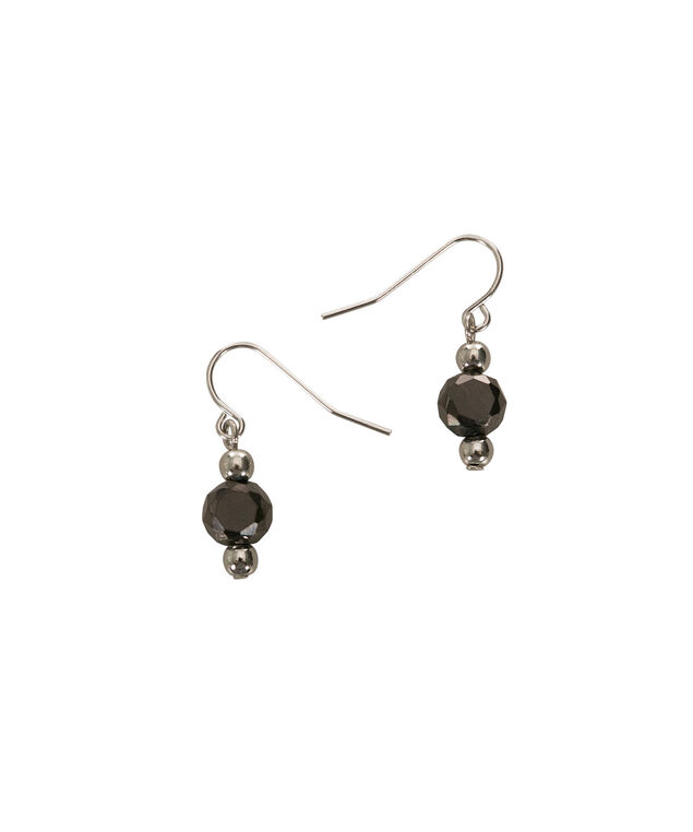 Faceted Bead Drop Earring, Jet/Rhodium, hi-res