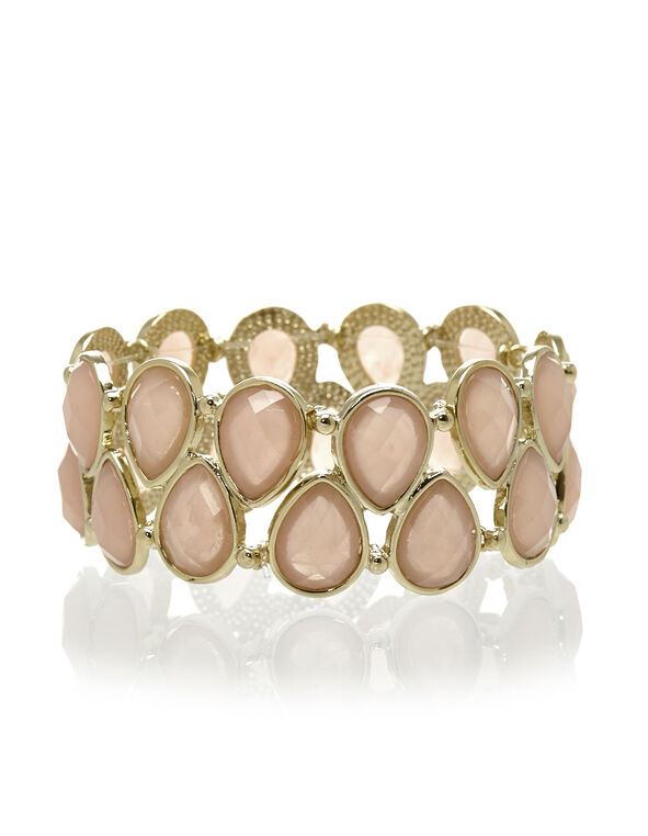 Pink Stretch Bracelet, Gold/Pink, hi-res
