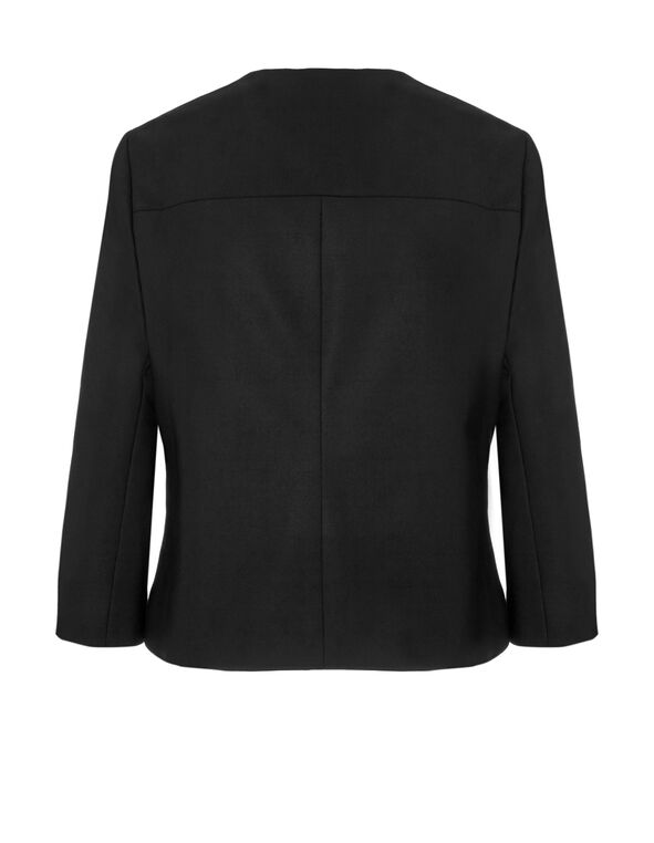 Black Collarless Blazer, Black, hi-res
