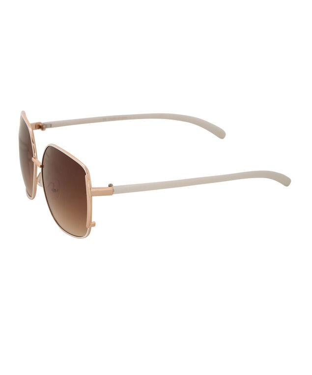 Painted Frame Aviator Sunglasses, White/Gold, hi-res