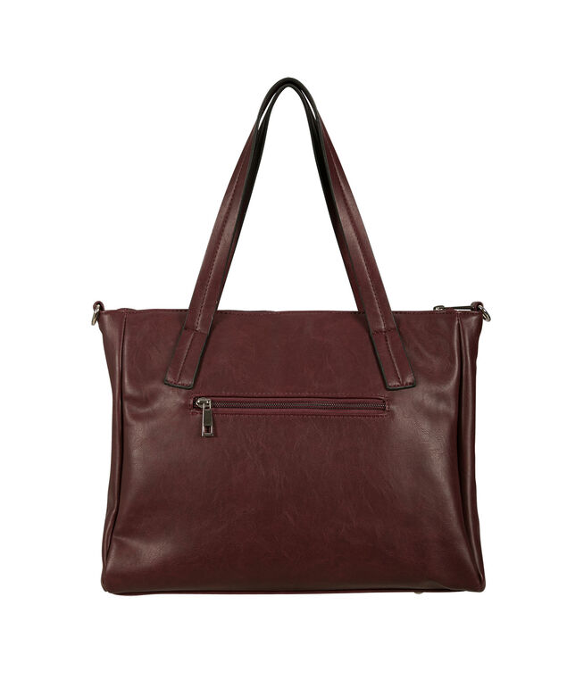 Knotted Satchel Bag, Burgundy, hi-res