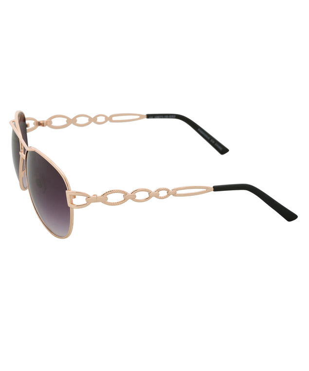 Temple Detail Aviator Sunglasses, Gold/Black, hi-res