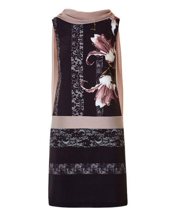 Floral Cowl Scarf Dress, Black/Dusty Pink/Ivory, hi-res