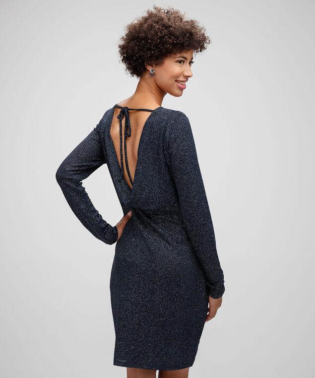 Open Back Cowl Sheath Dress, Black/Cobalt Sparkle, hi-res