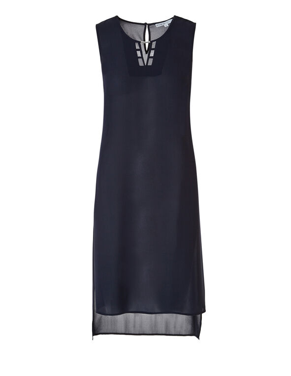 Long Sleeveless Tunic Blouse, Navy, hi-res