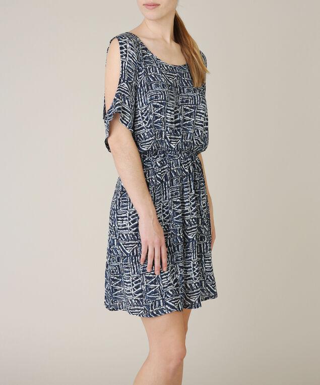 cold shoulder dress, BLUE PATTERN, hi-res