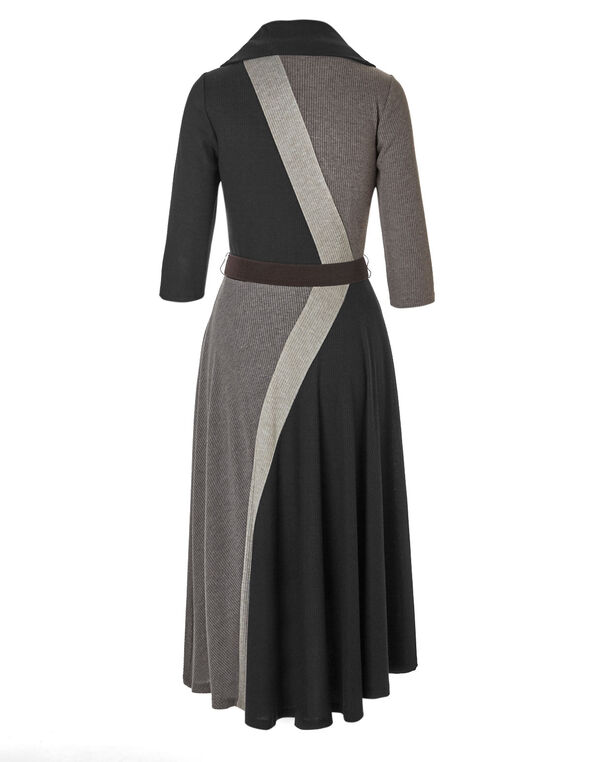 Brown Belted Sweater Dress, Brown, hi-res