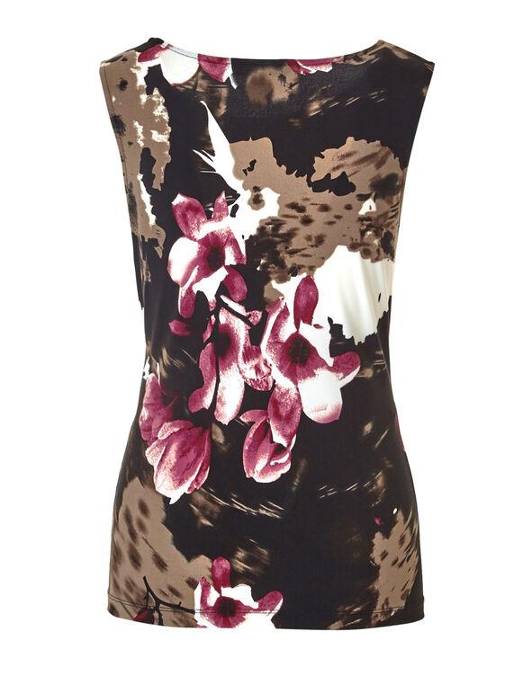 Floral Side Ruched Top, Black/Lipstick/Biscuit, hi-res