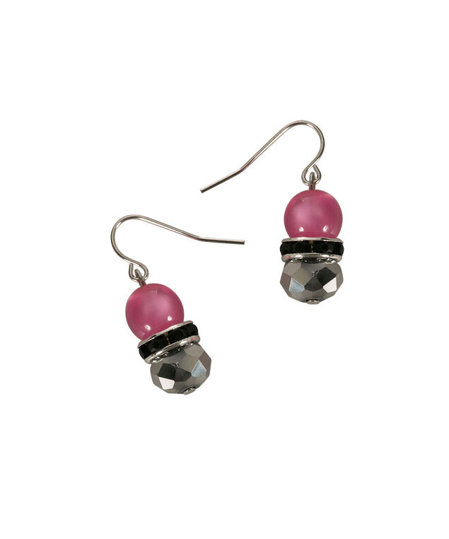 Stationed Bead Earring, Vibrant Pink/Black/Rhodium, hi-res