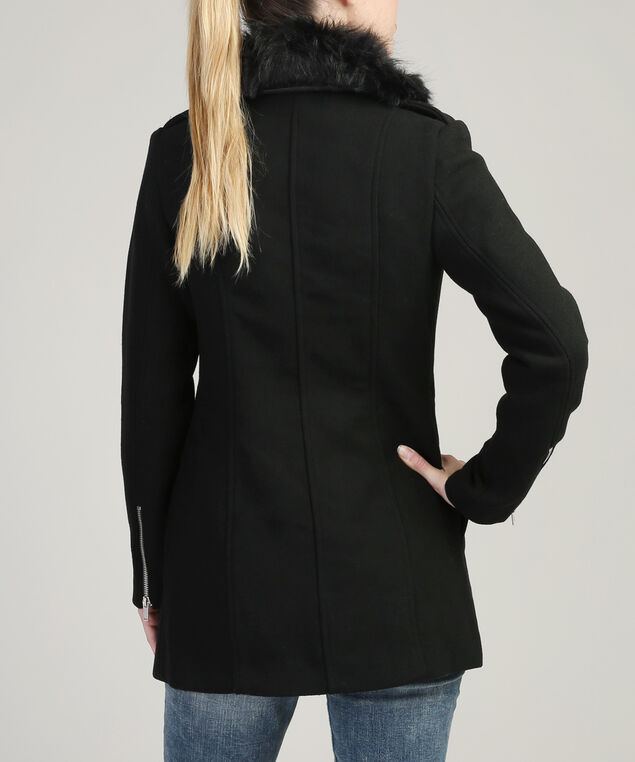 wool coat with fur collar - wb, BLACK, hi-res