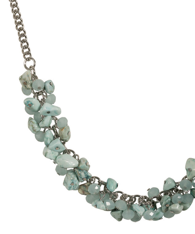 Natural Stone Statement Necklace, Green/Burnished Silver, hi-res